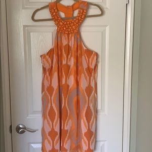 INC Orange and White T Back Dress